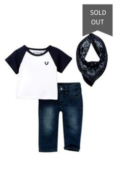 3709197cd NWT True Religion Baby Boys Boutique 3 Piece Outfit Jeans Tee T-Shirt  Bandana in Clothing