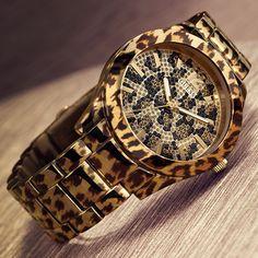 fierce, leopard print, women's watches, gold, glitzy, dressy, animal print