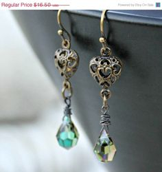 Valentines Day Sale  Aqua Crystal Drop Earrings  by LunarBelle