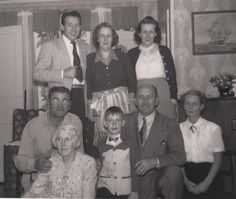 George with his mother, Aunt Sadie, Moe, Aunt Ella, Tommy with Arthur and Beth Jones (possibly cousins).