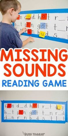 Missing Sounds Reading Activity: Hands-on reading activity; first grade activity; decoding and CVC words from Busy Toddler preschool cvcwords earlyreading reading kindergarten 297730225365659381 Kindergarten Learning, Teaching Phonics, Phonics Activities, Kids Learning Activities, Educational Activities, Teaching Reading, Teaching Kids, Cooperative Learning, Read Write Inc Phonics