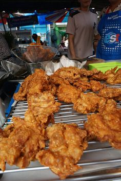 Spicy Thai fried chicken street food. Best Street Food to Eat and Drink at Bangkok's Chatuchak Market