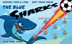 Sharks-Blue-47183  digitally printed vinyl soccer sports team banner. Made in the USA and shipped fast by BannersUSA. www.bannersusa.com