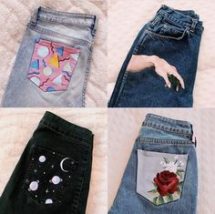 I'm working on several jeans atm, but for the time being, here's my 4 favorite jeans I've painted! What I'm working on several jeans atm, but for the time being, here's my 4 favorite jeans I've painted! What's your favorite one? Diy Fashion, Teen Fashion, Ideias Fashion, Fashion Outfits, Fashion Top, Painted Jeans, Painted Clothes, Diy Clothes Paint, Diy Your Clothes