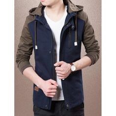 Colour Splicing Detachable Hooded Zip-Up Jacket