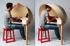 Retractable hooded desk. No one tell the school districts about this.