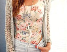 Floral tank top, knit cardigan, blue and white pin stripe pants