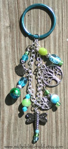 Funky Beaded Dragonfly Keychain Or Purse by Michele Littlefield, $12.00