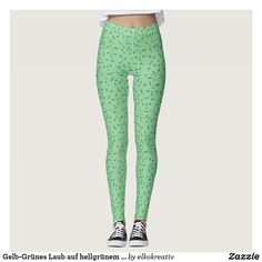 Shop Yellow-green leaves on a light green background leggings created by elkokreativ. Leggings Mode, Leggings Fashion, Yellow Leggings, Gym Clothes Women, Beautiful Yoga, Gym Style, Fitness Inspiration, Workout Inspiration, Schneider