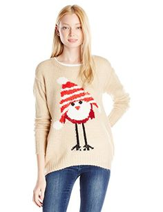 Jolt Juniors Bird with Hat Printed Holiday Christmas Sweater Natural Large *** Check out this great product.