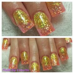 Yellow & Orange Glitter Fade Acrylic Nails