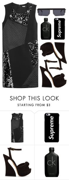 """""""I can hear my name calling from stilettos on display"""" by emmaadv ❤ liked on Polyvore featuring DKNY, Charlotte Olympia, Calvin Klein and Le Specs"""