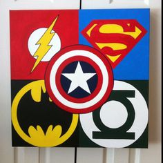 Collage of Superheros  painted on a canvas for my nephew.