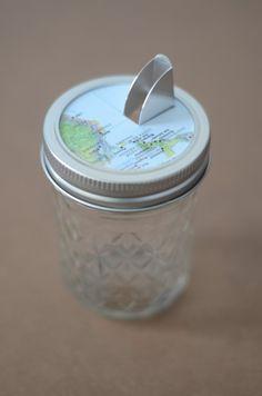 Make your own spice jars using old salt tops