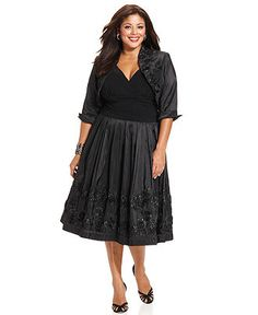 SL Fashions Plus Size Dress and Jacket, Sleeveless Ruched Sequin A-Line - Plus Size Dresses - Plus Sizes - Macy's