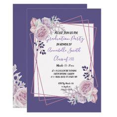Undersea baby shower invitation pinterest modern geometric frame purple floral graduation invitation graduation gifts giftideas idea party celebration filmwisefo