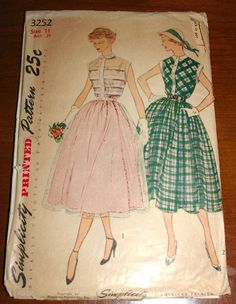 Vintage 1950s Cocktail Lucy Dress with Full Skirt Simplicity Sewing Pattern # 3252 Sz 11