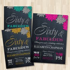 Adult Birthday Printable invitation. Woman in by BlueTulipStudio