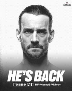 HE'S BAAAAAAAACK! @cmpunk returns to #WWEBackstage TONIGHT, at 11e/8p, on @fs1.