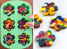 Easy Earth Day Crafts for Kids - Recycled crayons Recycling Projects For Kids, Crafts For Kids To Make, Easy Crafts, Craft Projects, Craft Ideas, Kids Crafts, Recycled Crayons, Recycled Crafts Kids, Recycle Crafts