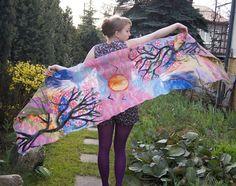 Nuno felted scarf long pink silk shawl with decorative by filcAlki