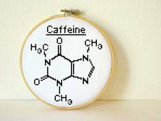 Caffeine Molecule. Counted Cross stitch Pattern PDF. Instant download. Includes easy beginners instructions.