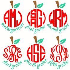 School Apples Monogram Frames Svg Cuttable Designs