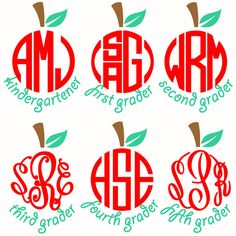 School Apples Monogram Frames Svg Cuttable Designs