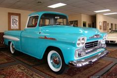 This rich aqua blue makes me wanna drive down a country road on a Sunday afternoon with an ice cold Coca-Cola in between my legs. Chevy Trucks Older, Chevy Pickup Trucks, Gm Trucks, Chevy Pickups, Chevrolet Trucks, Cool Trucks, Antique Trucks, Vintage Trucks, General Motors