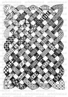 Zentangle [Looks like a Celtic knot pattern was tangled! Tangle Doodle, Tangle Art, Zen Doodle, Doodle Art, Zentangle Drawings, Doodles Zentangles, Doodle Drawings, Doodle Patterns, Zentangle Patterns