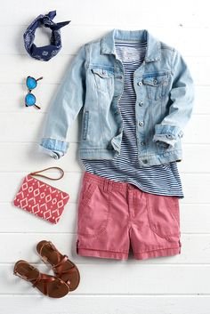 A jean jacket is a wardrobe staple. Change it up for summer with a lighter wash and a rolled sleeve. Add some color with a washed chino short in berry and an ikat-print wristlet. Find this summery look from SONOMA Goods for Life only at Kohl's.
