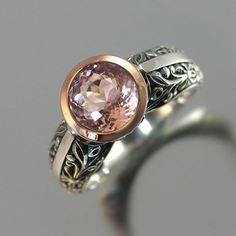 The CROWNED COUNTESS Morganite engagement ring 14K rose gold and silver (sizes 7 to 9.5). $845.00, via Etsy.