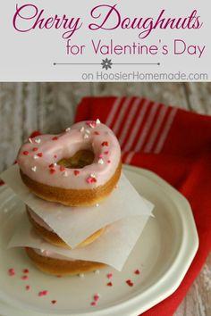 Cherry Doughnuts | Recipe on HoosierHomemade.com @Hoosier Homemade