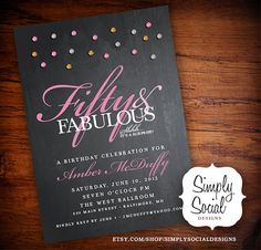 Glam Surprise 50th Birthday Party Invitation with Glitter and Chalkboard