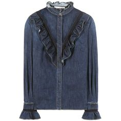 Stella McCartney Ruffled Denim Shirt (€705) ❤ liked on Polyvore featuring tops, blue, blue ruffle shirt, frilled shirt, stella mccartney top, flounce shirt and frilly shirt