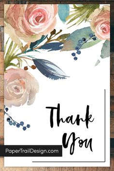 Perfect for wedding thank you cards or baby shower thank you cards this floral free printable thank you card template is easy and fast. #papertraildesign #savemoney #waystosavemoney #getoutofdebt Free Printable Birthday Cards, Printable Thank You Cards, Thank You Card Template, Free Printable Calendar, Calendar Ideas, Party Printables, Free Printables, Sympathy Thank You Cards, Thank You Card Images