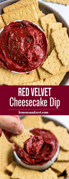 A few ingredients and 5 minutes is all you need to whip up this simple, no bake Red Velvet Cheesecake Dip. You can dip, spread or eat it straight from the spoon. A fun dessert that is ready in no time? Cookies And Cream Cheesecake, Red Velvet Cheesecake, Cheesecake Dip, Raspberry Cheesecake, Red Velvet Desserts, Pumpkin Cheesecake, Cheesecake Recipes, Chocolate Avocado Brownies, Chocolate Covered Bananas