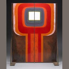 A pair of Kay Whitcomb enamelled doors Circa 1970 Enamel on steel, fired in Belgium. Height of each 7ft (2.13m); width 32¼in (82cm)  Exhibited: California Design Eleven, March-April 1971.  Literature: Pasadena Art Museum, California Design Eleven 1971, ill p.66 Estimate: US$ 6,000 - 8,000 £3,900 - 5,100 €4,500 - 6,000