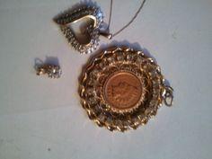 .coin pendant gold/copper, also diamond heart pendant necklace