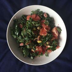 Kale, Grapefruit, Pistachio & Date Syrup Salad.