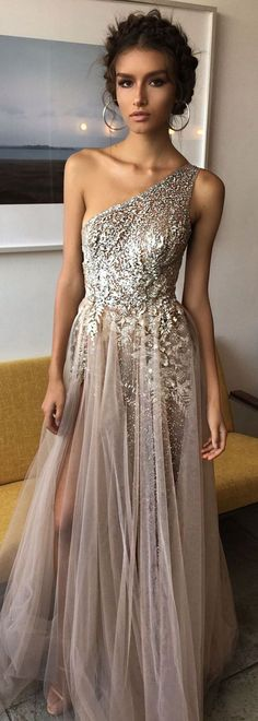One Shoulder Shinning Side Split Elegant Long Prom Dresses, WG1039