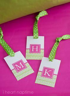 Monogram free printable luggage tags
