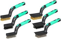 Detailing Wire Brush Set Heavy Duty Mini Scratch Brush Crimped Brass Stainless Steel Nylon With Scraper End Curved RubberGrip Handle 3 Wide 3 Narrow Length 7Inch 6Piece *** Find out more about the great product at the image link.