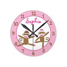 Pink Sock Monkey Personalized Clock
