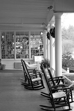 Red Lion Inn Porch, The Berkshires .... we spent a wonderfully crisp autumn afternoon in one of these rockers!!