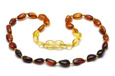Baltic amber teething necklace for children are attractive to wear and ideal to provide natural pain relief and soothing analgesic support during teething.