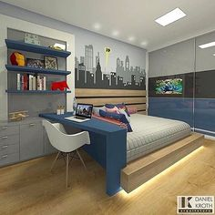 41 modern bedroom design ideas you should already own 2 Boys Room Design, Boys Room Decor, Small Room Bedroom, Room Decor Bedroom, Chambre Nolan, Cool Dorm Rooms, Teenage Room, Modern Bedroom Design, Room Interior