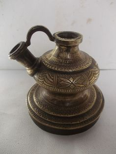 Rare Antique Vintage Beautiful hand Carved Heavy Brass HOOKAH BASE Brass Hookah