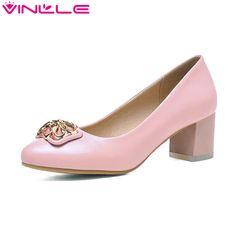 Vinlle розовые ботинки женщин круглый носок квадратный высокие каблуки искусственная кожа платформа женская обувь свадебные туфли размер 34   43 купить на AliExpress