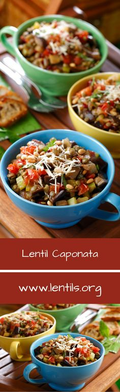 Lentils add a hearty main-event element to this traditional Sicilian veggie dish of eggplant and tomatoes. Great served hot or cold, as a main or an appetizer, this dish is perfect for your next picnic or dinner party.